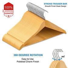 10 Wooden Coat Hangers Suit Trouser Garments Clothes Coat Hanger Bar NEW