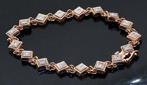 Heavy 14K rose gold 1.70CT VS diamond fancy line bracelet