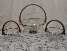 Barclay Butera Equestrian Collection 3 pcs Bowl Set with Leather Handle by Zodax
