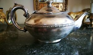alte englische Teekanne Silber, gepunzt shabby chic deko