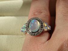 Beautiful Ethiopian Welo Opal & Topaz Plat/925 Ring Size N