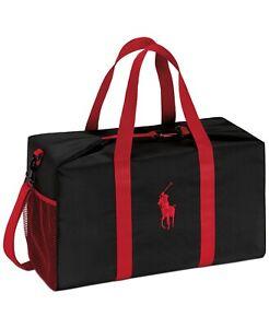 POLO RALPH LAUREN carry on shoulder black red duffle bag travel gym weekender
