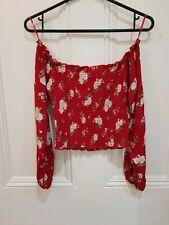 NWOT Hollister Smocked Off The Shoulder Crop Top Red Floral Pattern Size S