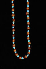 """32"""" Turquoise Navajo Ghost/Cedar Beads Necklace. Juniper Berry by L. Bitsoie"""