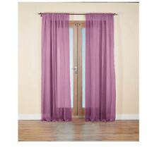 Pair of Voile Curtain Panels Purple Sheer 152 x 228cm