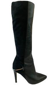 Designer Sam Edelman Black Suede & Leather Long Boots Knee High Heels Eu 38 UK 5