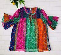 Anthropologie Akemi + Kin Antonella Sheer Patchwork Blouse Shirt Top Sz S