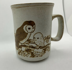 Vtg Dunoon Ceramics Owl Mug Barn Owls & Baby. Stoneware Made In Scotland 8 oz