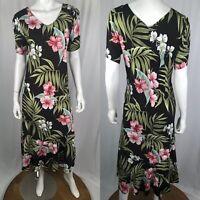 Vintage Hawaiian Puanani Women's Large Black Pink Floral Midi Flare Shift Dress