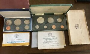 lot 1970 1971 proof sets Trinidad Tobago Jamacia some Sterling silver W/papers