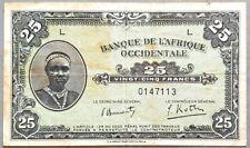French West Africa 25 francs 1942 P-30 circulé