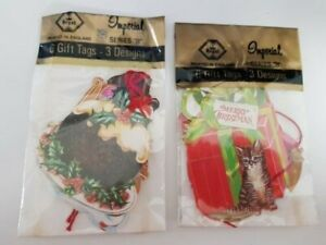 12 Vintage Pre Strung Christmas Gift Tags