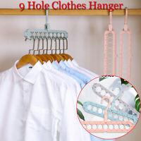 Home & Living Foldable Hanger Drying Rack Storage Racks 9 Hole Clothes Hanger
