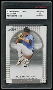 JACK LEITER 2018 LEAF PERFECT GAME NATIONAL SHOWCASE 1ST GRADED 10 ROOKIE CARD