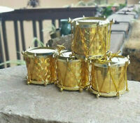 Small Gold Drum Christmas Tree Ornaments: Lot of 4 Pieces, Holiday Decorations
