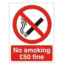 No Smoking £50 Fine Sign 150mm x 200mm Rigid Plastic (PRS-22W)