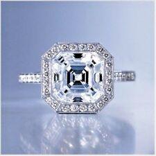 2.31 Ct Asscher Cut Diamond Bezel Set Micro Pave Engagement Ring G, VS1 GIA USA