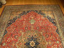 9.6 x 12.5 Handmade Fine Quality Antique Persian Tabriz Wool Rug _ Nice Colors