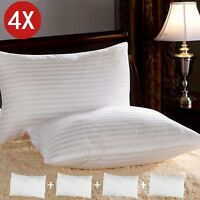 4x Luxury Deluxe Bounce Back Pillows Stripe Extra Filled Super Jumbo Hotel UK