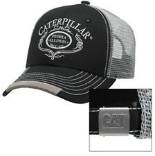 CAT CATERPILLAR *BLACK & SILVER Mesh SCRIPT* TRADEMARK LOGO HAT CAP * NEW* CA17