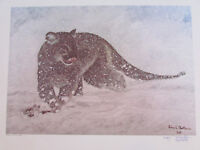Vintage John Le Roi Sheffer Wildlife Snow Leopard Signed Wall Art Print 25x19