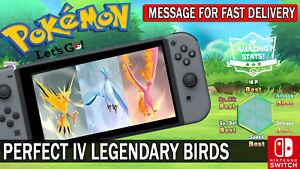 Pokemon Let's GO Shiny Perfect IV Articuno, Moltres & Zapdos Legendary