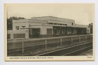 Postcard - Palo Alto, CA - EARLY VIEW SOUTHERN PACIFIC TRIAN STATION DEPOT