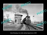 OLD LARGE HISTORIC PHOTO OF BORIE WYOMING, THE RAILROAD SIGNAL TOWER c1950