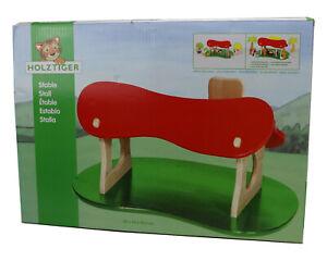 HOLZTIGER Stall Weihnachtskrippe Krippe aus Holz Puppenhaus Handarbeit 80312