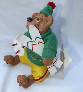 "Russ Berrie Cross Country Skiier Bear The Country Folks Mogul 5"" Figurine"
