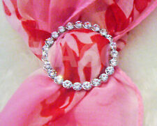 Rhinestone Scarf Ring Silver White Stones Round Buckle for Scarves Cincin Tudung
