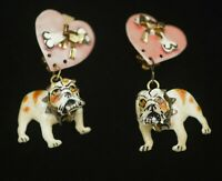 LUNCH AT THE RITZ BULLDOGS AND HEARTS  FUNKY DANGLE CLIP ON EARRINGS