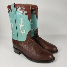 Lucchese 2000 Size 8.5 B Womens Brown Turquoise Cowboy Boots Ropers Western