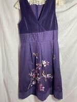 UTTAM BOUTIQUE Velvet Shift Dress Size 12 embroidered Birds and Flowers Cotton
