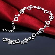 Elegant Jewelry Chain Bracelet Love Bangle Silver Plated Heart Rose Beads