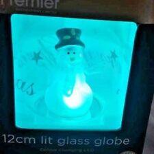 premier decoration 12cm light glass globe Snowman colour changing LED new