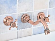 Antique Red Copper Double Cross Handle Bathroom Wall Mounted Basin Sink Faucet