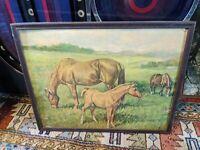 Antique ART DECO Wood Picture Frame  19.5x16 Vtg HORSE SIGNED ART PRINT LITHO