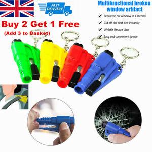 3 in1 Emergency Escape Car Glass Hammer Window Breaker Seat Belt Cutter Key Ring