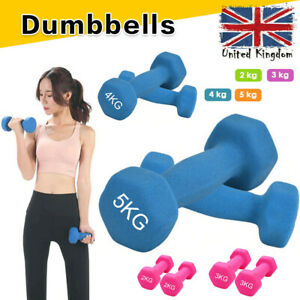 Pair of Hex Dumbbells Neoprene Cast Iron Weights Ladies Gym Workout Aerobic 5KG