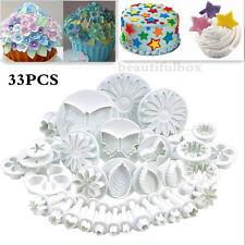 10set/33pc Sugarcraft Cake Cupcake Decorating Fondant Icing Plunger Cutters Tool