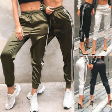 Womens Satin Joggers Trousers Ladies Tracksuit Bottoms Jogging Gym Fitness Pants