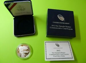 2012-P Star Spangled Banner Proof Commemorative Silver Dollar With Box & COA