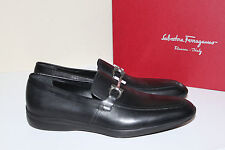 New sz 8 D SALVATORE FERRAGAMO Simply Bit Loafer Black Leather Slip on Shoes