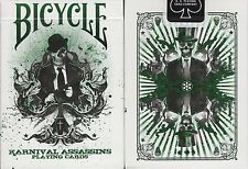 Karnival Assassins Green Bicycle Playing Cards Poker Size Deck USPCC Limited New
