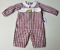 Boys SILLY GOOSE smocked fall harvest romper 6 months NWT brown long 3-6 outfit