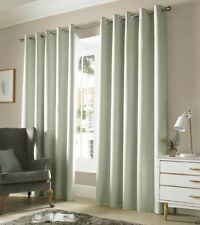 """One Pair of Ashley Wilde Plain Woven Detail Thick Monaco Eyelet Lined Curtains Sage 90"""" X 72"""""""