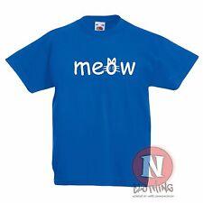meow estampada infantil Camiseta 3-13 Años Estampado Diseño Gatos WHISKERS Gato