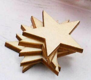 "Wood Stars Laser Cut Blank 1"" Pentagram Shape Bulk Craft Supply Lot 25 pc Set"