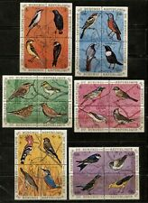BURUNDI 1970 BIRDS Sc 337-342,C132-C137, 48 STAMPS IN BLOCKS OF 4 VERY FINE USED